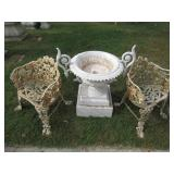 Pair Of Cast Iron Chairs Together with A
