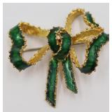 JEWELRY. Tiffany & Co. 18kt Gold and Enamel Bow