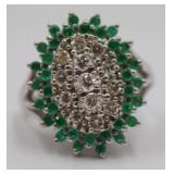 JEWELRY. Signed 14kt Gold, Emerald, and Diamond