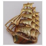 JEWELRY. Signed Bermuda 14kt Gold Ship Brooch.