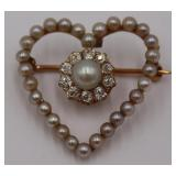 JEWELRY. 18kt Gold, Diamond and Pearl Heart