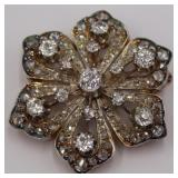 JEWELRY. Antique 14kt Gold and Diamond Floral Form