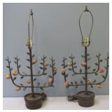 Vintage  Tole  And Metal Tree Form lamp .