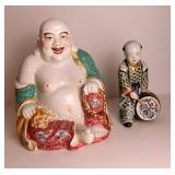 Chinese Porcelain Smiling Buddha & Drummer Boy