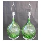 Midcentury Pair Of Large Green Glass Lamps