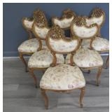 6 Antique Finely Carved And Gilt Decorated