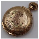 JEWELRY. Elgin Tri-Color 14kt Gold Pocket Watch.
