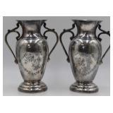 SILVER. Pair of Persian Niello Silver Vases.