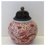 Antique Chinese Porcelain Jar With Wood Lid
