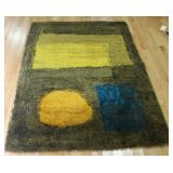 MIDCENTURY. Rya Rug With Abstract Design.