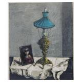 SIGNED In Hebrew. Color Lithograph. Still Life.