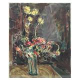 SIGNED in Hebrew. Color Lithograph. Floral Still