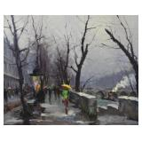 LAZAREV, Vladimir.  Oil on Canvas. Paris Scene.
