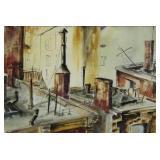 BUCHSBAUM, H. Watercolor on Paper. Roof Scene.