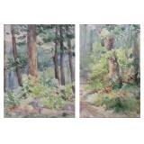 LOT of Two Apparently Unsigned Watercolors. Forest