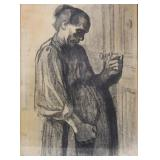 APPARENTLY Unsigned. Print. Woman at Door.
