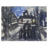 KOPMAN. Watercolor on Paper. Townscape.
