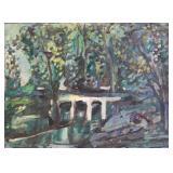 DAUM, H. Oil on Board. Landscape with Bridge. 1946