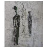 INITIALED DF. Oil on Board. Figures in Manner of