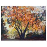 ILLEGIBLY Signed. Oil on Canvas. Autumn Landscape.
