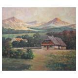 REX, A. Oil on Canvas. Landscape. 1945.