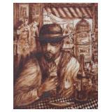 "D""AVINO. Ink on Paper. 14th Street Cafe. 1962."