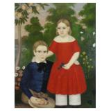 18th/19th C. Oil on Canvas. Portrait of Two