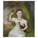 18th/19th C. Oil on Canvas. Portrait of a Girl