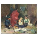 "JOST, Joseph. Oil on Canvas. ""Peek a Boo"""