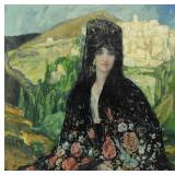 BROWNE, George. Oil on Canvas. Spanish Beauty in