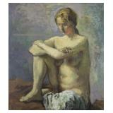 """SOYER, Moses. Oil on Canvas. """"Seated Nude"""" 1962."""