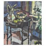 Unknown. Modernist Oil on Canvas. Interior Still