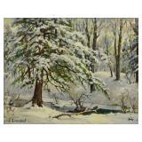 GREENLEAF, Jacob. Oil on Board. Snowy Landscape.