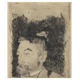 """GAUGUIN, Paul. Etching """"Portrait de Stephane"""
