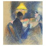 French Impressionist. Pastel Drawing. Figures in a
