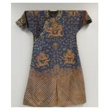 Blue Ground Dragon Robe with Gilt Embroidery.