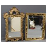 2 Large and Decorative Gilt Mirrors .