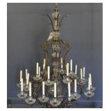 Antique Palace Size Gilt Metal and Crystal