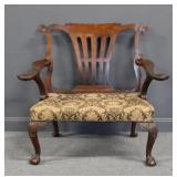 Antique Mahogany Irish Style Chippendale Bench