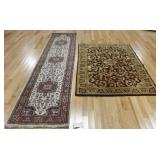 2 Vintage and Finely Hand Woven Carpets .