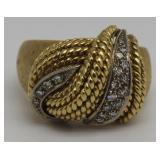 JEWELRY. Italian 18kt Gold and Diamond Ring.