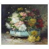 """CAUCHOIS, Eugene Henri. Oil on Canvas. """"Fleurs des"""