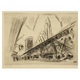 "MARIN, John. Etching "" Downtown, the El"" 1921."