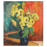 YEE BON. Oil on Canvas. Yellow Flowers in a Vase.