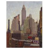 """VIDAL, Couce. Oil on Board. """"Downtown From"""