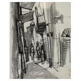 SCHLOSS, Ruth. Gouache on Paper. Street Scene.