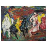 MULLER, Jan. Oil on Wood. Two Equestrians with