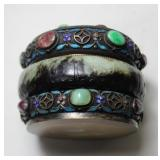 Chinese Enameled Silver, Jade, and Stone Box.