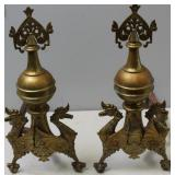 Pair Of Brass Sea Horse Form  Andirons .