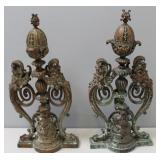Pair Of 19 Century Brass Andirons With Neptune